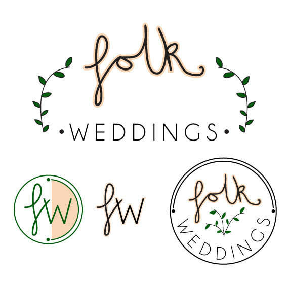 cute branding and quirky logo design for Folk Weddings